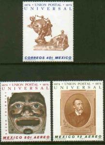 MEXICO 1070, C437-C438 Centenary Universal Postal Union MNH. VF.
