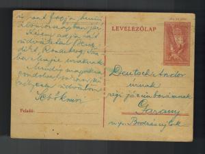 1943 BUdapest Ghetto Hungary Postcard Cover to Garany Judaica Andor Deutsch KZ 2