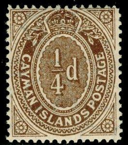 CAYMAN ISLANDS SG38, ¼d brown, NH MINT.