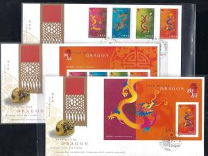 Hong Kong - 2000 New Year of Dragon stamps & S/S set FDCs