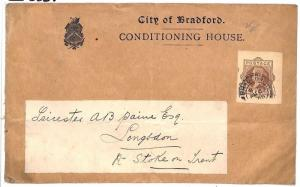 GB Cover QV STATIONERY CUT-OUTS Usage Bradford *Conditioning House* 1908 BD29