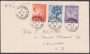 SEYCHELLES 1954 QE 3 definitives on FDC to New Zealand - Victoria cds........210