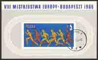 Poland 1966 Sc 1422 Athletic Meet Budapest Stamp SS Used