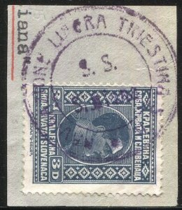 Yugoslavia  1926 Sc 44 Used on piece, Italian Ship Cancel: S.S. Sieiana