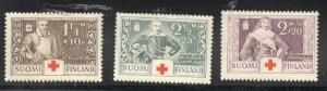 Finland Sc B18-20 1935 Red Cross charity stamp set mint