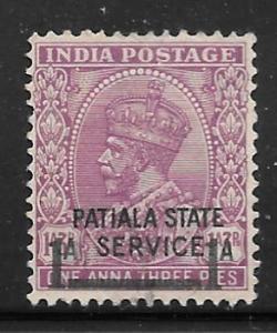 India Patiala O58: 1a on 1a3p George V, unused, NG, F