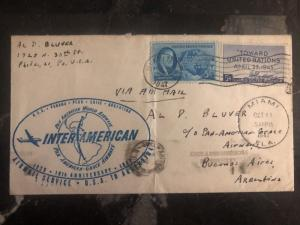 1947 Miami USA First Flight cover FFC To Bueno Aires Argentina Inter American