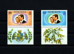 DOMINICA - 1973 - ROYAL WEDDING - PRINCESS ANNE + M PHILLIPS - MNH SET + LABELS!