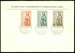 EDW1949SELL : LIECHTENSTEIN Beautiful 1954 FDC of Scott #284-86. Religion.