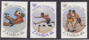 Zambia # 304 & 306-307, Olympic Games, Missing one value, NH, 1/3 Cat.