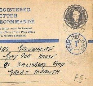 GB SURREY Cover *High St Croydon* 1d EXTRA Stationery Registered {samwells}AN228