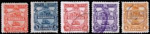 Nicaragua Scott 21-22, 24-26 (1890) Used/Mint H F-VF, CV $15.75 B