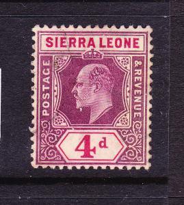SIERRA LEONE  1904-05  4d  KEVII  MH   SG 92