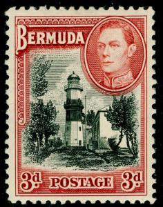 BERMUDA SG114, 3d Black & Rose Red, M MINT. Cat £50.