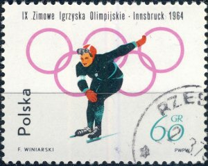 POLAND / POLEN - 1964 Mi.1460A 60gr Winter Olympics (Skating) - VF Used (b)