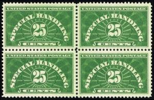 QE4, Mint XF NH 25¢ Block of Four Stamps Cat $150.00 - Stuart Katz