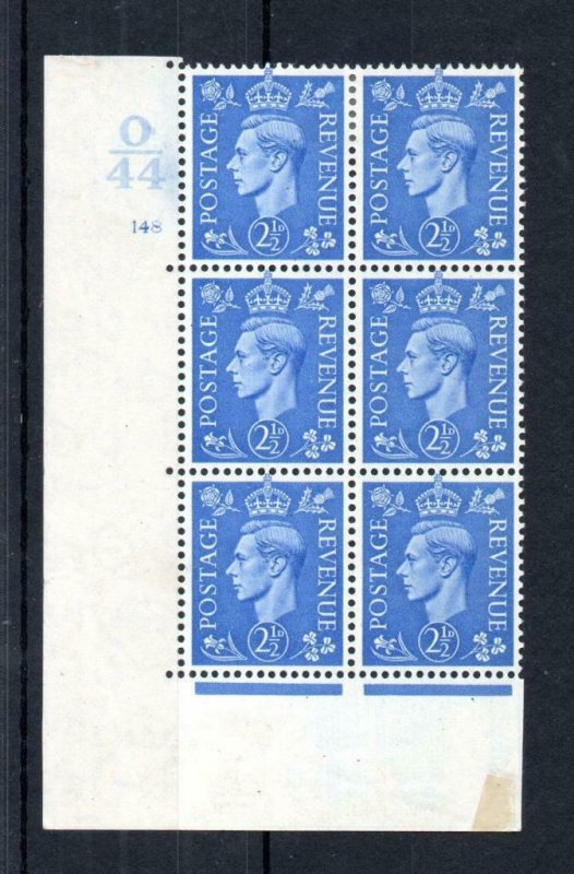 GEORGE VI 21/2d PALE BLUE MOUNTED MINT CONTROL O44 CYLINDER 148 BLOCK Cat £20
