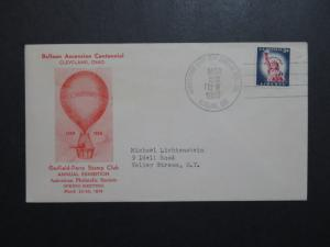 US 1958 Balloon Ascension Centennial Red Cacheted Cover  - Z8789