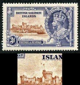 SOLOMON ISLANDS SG54h 1935 Silver Jubilee 3d Variety Dot by flagstaff