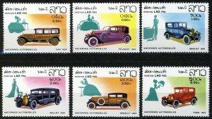 Laos 1982, Antique Cars, Automobiles, Full set 6v MNH