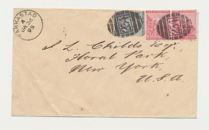 CAPE OF GOOD HOPE -USA 1895 COVER TARKASTAD CDS +234 BARRED CANCEL +NY(RECVR)