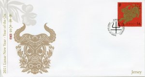 Jersey Year of Ox Stamps 2021 FDC Chinese Lunar New Year 1v Set