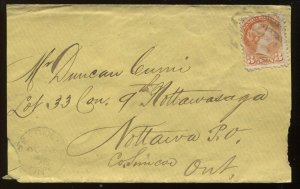 3 Cents Small Queen on 1878 Collingwood cover to Nottawa ON