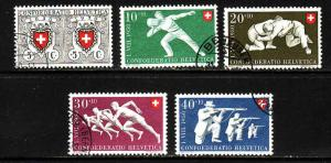 Switzerland-Sc#B191-5-used semi-postal set-Sports-1950-
