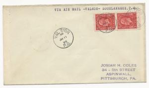 Canada Scott #192 Pair on Cover Via Air Mail January 11, 1935 Val D'or