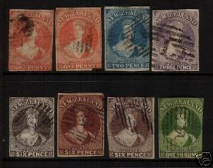 NEW ZEALAND FFQ 1862 IMPERF SET 8 STAR WMK FU SG33/44