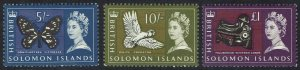 BRITISH SOLOMON ISLANDS 1965 QEII PICTORIAL 5/- 10/- AND 1 POUND MNH **