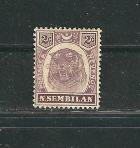Malaya Negri Sembilan  6 SG 6 2c Dl Purp & Brn MHL VF 1899 SCV $42.50