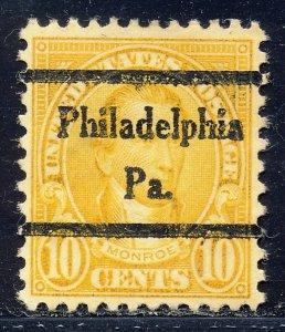 Philadelphia PA, 642-44 Bureau Precancel, 10¢ Monroe