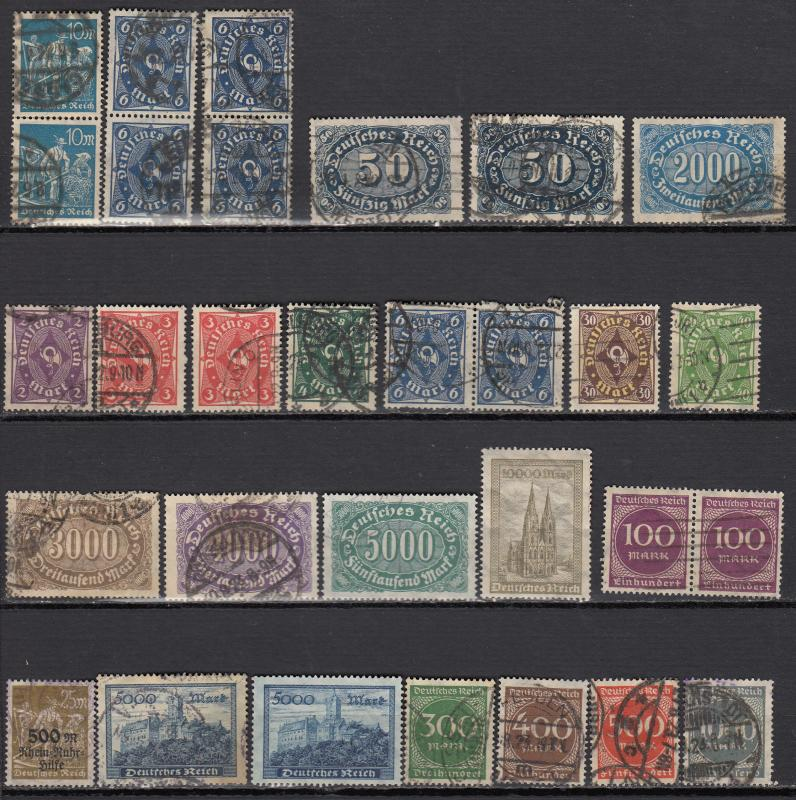 Germany - 1921/1923 Inflation small stamp lot-3 - (973)