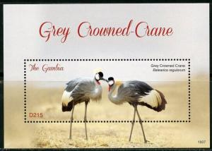 GAMBIA  2018 GREY CROWNED CRANE SOUVENIR   SHEET MINT NH