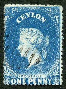 Ceylon SG28a 1d Dull Blue Wmk Star Rough Perf 14 to 15.5 BLUED Paper
