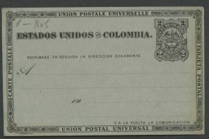 COLOMBIA UPU 1883 HG 6 MINT 2C POSTAL CARD BLACK ON GRAY AS SHOWN