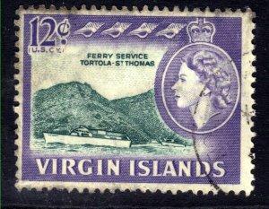 British Virgin Islands 1964 - 68 QE2 12ct st Thomas Ferry used SG 186 ( B930 )