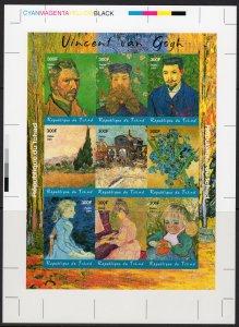 Chad 2001 Vincent van Gogh Famous Paintings Shlt.(9) FINAL PROOF CROMALIN UNIQUE