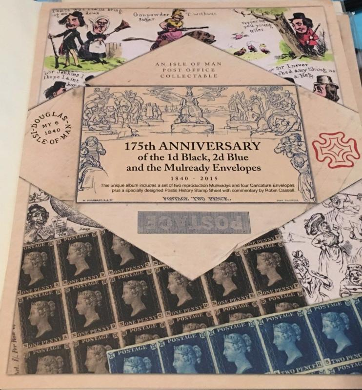 ISLE OF MAN 2016 #'D 1 OF 1000 FOLDERS STAMP ON STAMP PENNY BLACK 175TH S11772-2