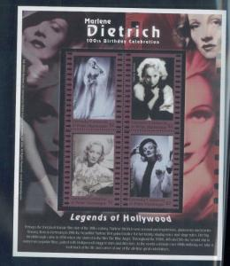 MARLENE DIETRICH Commemorative Sheet of 4 #2317 MNH - Grenada E67