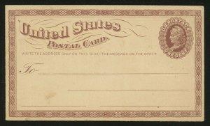 #UX3 2ND POSTAL CARD ISSUE 1873 1¢ BROWN ON BUFF CARD BQ8776R
