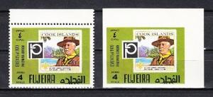 Fujeira, Mi cat. 1461 A-B. Scouting Stamp on Stamp Perforate & Imperf issues. *