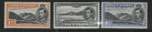 ASCENSION   41A, 44A,  44B  MINT HINGED 1944 SINGLES