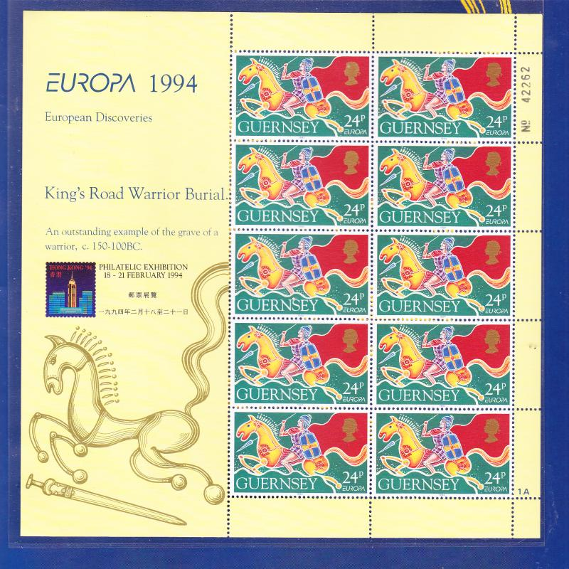 EUROPA CEPT, HONG KONG STAMP EXPO ON GUERNSEY 1994 Sc 526a SHEET in FOLDER, MNH
