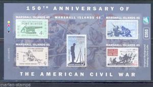 MARSHALL ISLANDS  ERROR CIVIL WAR SHEET DEPICTING  US STAMPS IMPERFORTE MINT NH