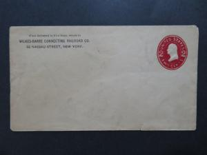 US 1800s Wilkes-Barre Connect RR Cover / Over Inked / Sm Bottom Tear - Z8155