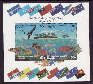 Nauru-Sc#405b-Unused NH sheet-South Pacific Forum-Birds-Fish-Dolphins-1993-