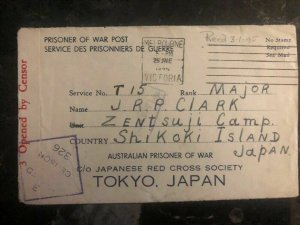 1944 Elstetnwick Australia To Zentsuji Camp Japan POW Prisoner JRP Clark Cover