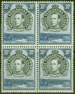 KUT 1942 30c Black & Dull Violet-Blue SG141b P.13.25 x 13.75 V.F MNH Block of 4